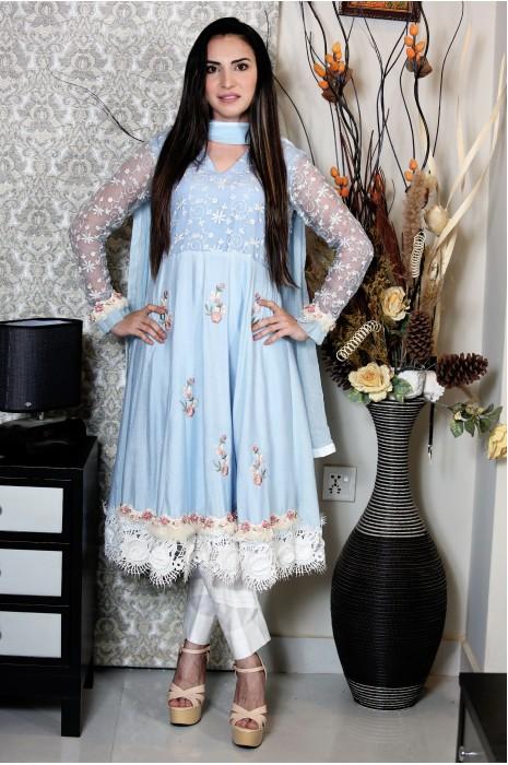 Blue Flowery long shirt AA103
